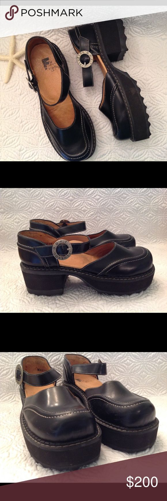 Johnson Fluevog Black Chunky Platform Mary Janes Gently pre-owned. Minor scuffing on the leather uppers. Smoke free home. John Fluevog Shoes Platforms