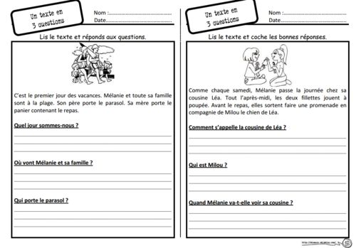 Un texte, 3 questions (With images) | Teaching french ...