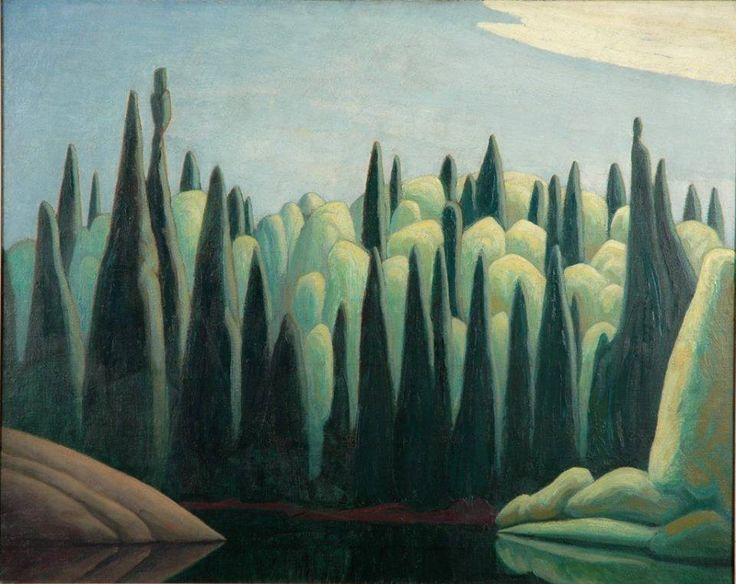 """""""Spring on the Oxtongue River"""" by Lawren Harris. In 1915, Harris and Tom Thomson came to the Oxtongue River and Algonquin Park. Together, the two canoed the Oxtongue River where Harris sketched the river's lustrous greens and purple tones. Harris captured his experience along the Oxtongue River in a canvas he titled """"Spring on the Oxtongue River"""". This work of art is part of the Group of Seven collection at the Judith & Norman Alix Art Gallery in Sarnia, Ontario."""