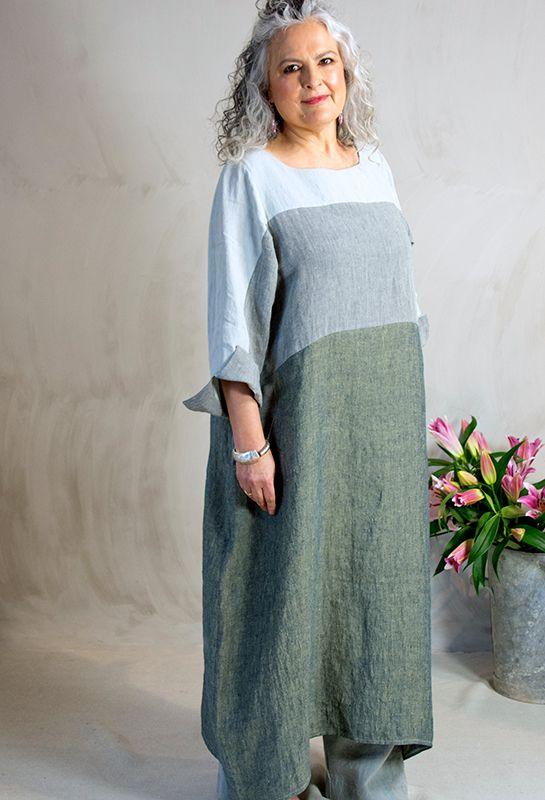 Striped dress £305, linen.