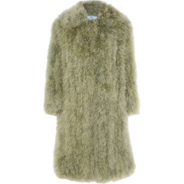 Prada Feather coat ($5,515) ❤ liked on Polyvore featuring outerwear, coats, prada, ostrich coat, ostrich feather coat, feather coat and green coat