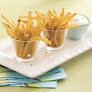 Salt-and-Pepper Oven Fries with Lemon-Garlic Mayo sauce.
