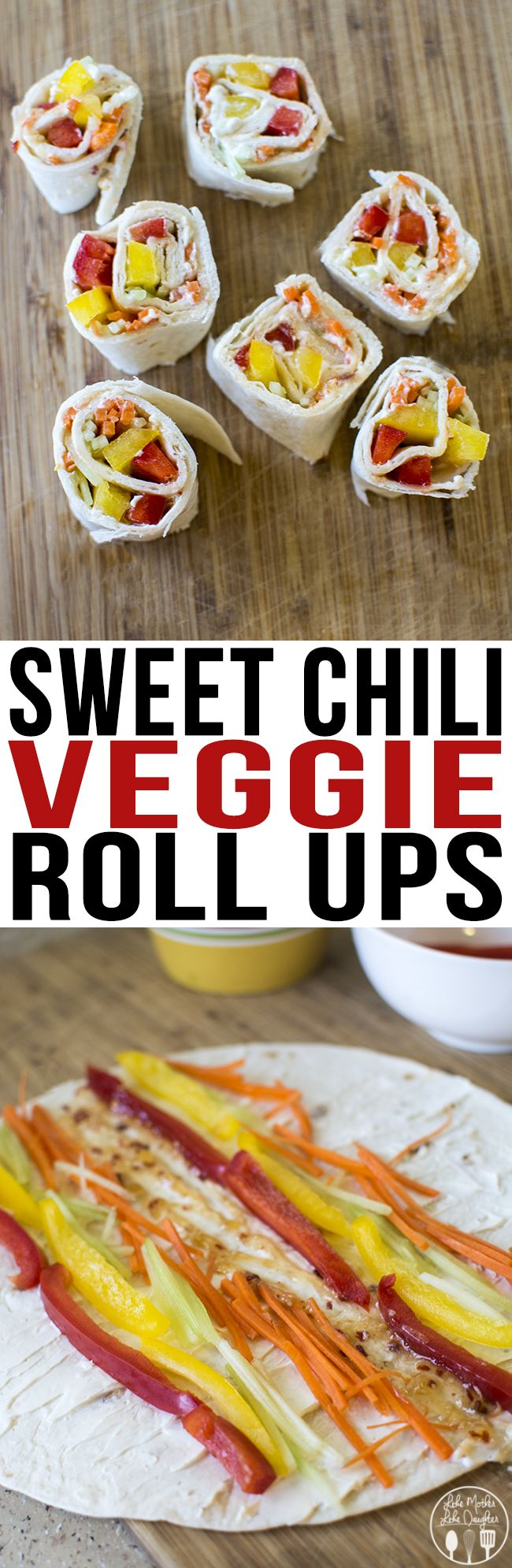 Sweet Chili Veggie Roll Ups - These lower calorie sweet chili veggie roll ups are the perfect snack. They're made with a homemade sweet chili sauce, all rolled up in a tortilla with fat free cream cheese and julienned vegetables. #SplendaSweeties #SweetSwaps #ad