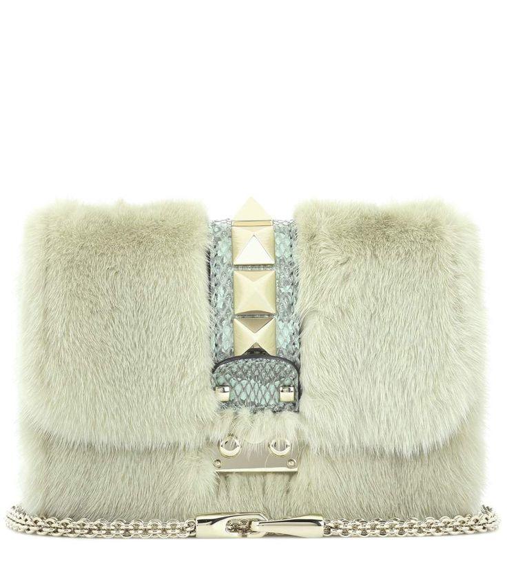 Valentino - Valentino Garavani Lock Small snakeskin and mink fur shoulder bag | mytheresa.com