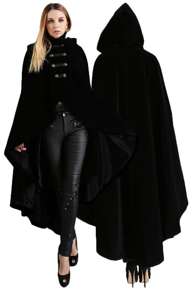 Pentagramme Gothic Cape, Velvet Hooded Cloak with Military Style Buttons - Click to enlarge