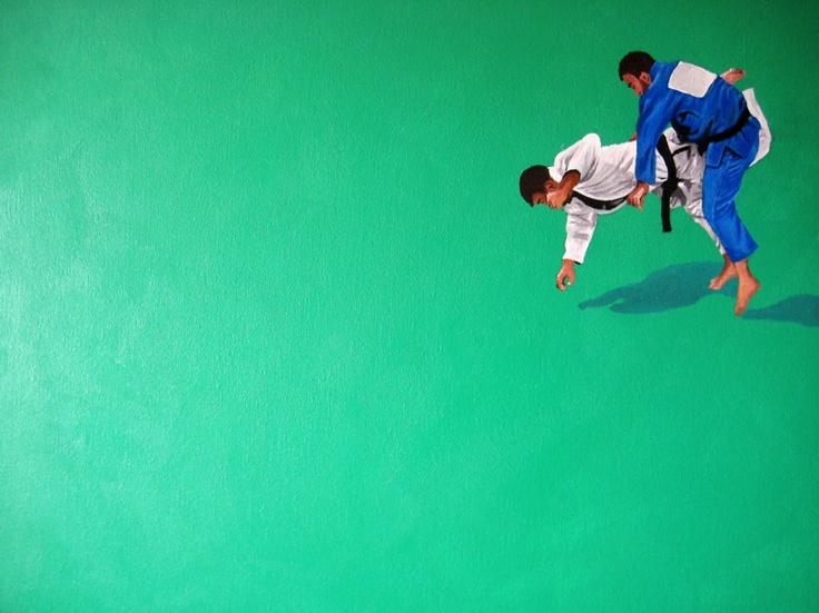 "Tae Kwon Do. Acrylic on canvas. 24"" x 18""Tae Kwon, Olympics Series"