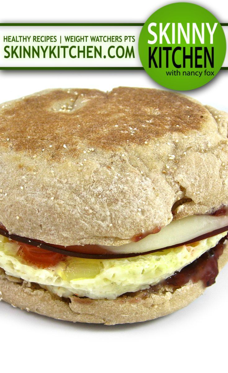 Egg McMuffin Made Skinny.This is a simple, hearty and delicious breakfast sandwich, the whole family will enjoy! Each has 237 calories, 4g fat and 6 Weight Watchers POINTS PLUS. http://www.skinnykitchen.com/recipes/egg-mcmuffin-made-skinny-yum/