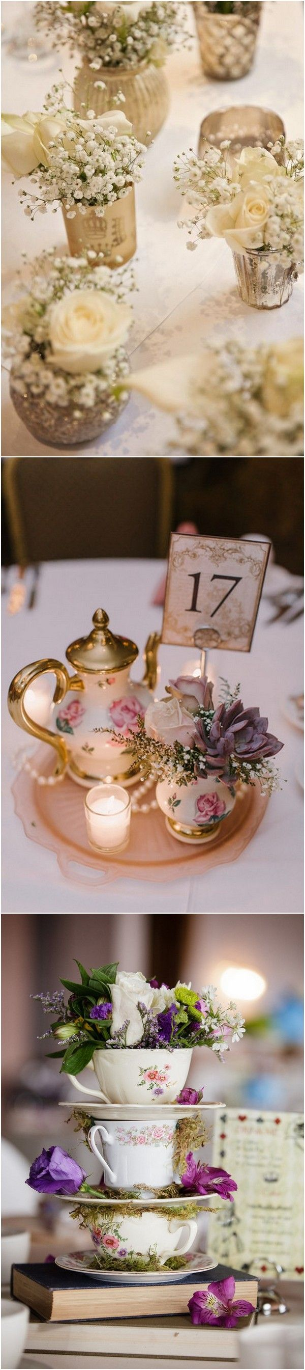 vintage teacup wedding centerpieces