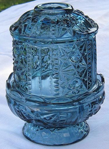 Vintage Indiana Glass BLUE FAIRY LIGHT by LavenderGardenCottag, $13.00