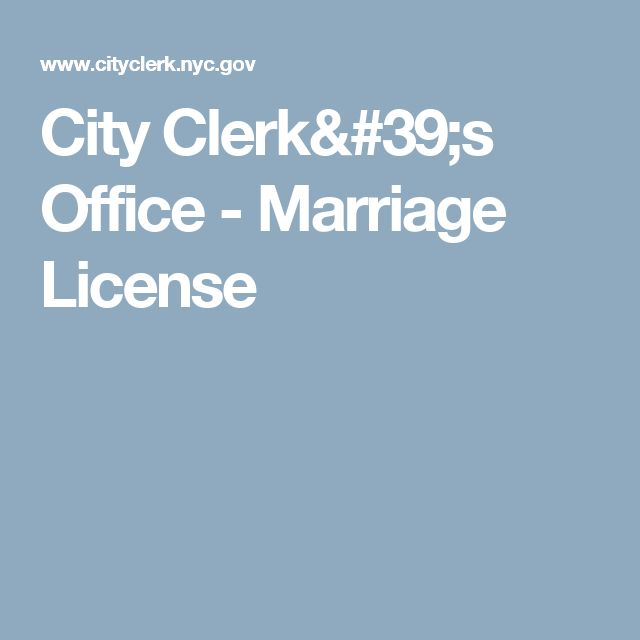 City Clerk's Office - Marriage License