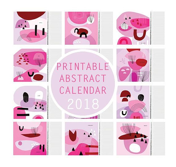 Check out this item in my Etsy shop https://www.etsy.com/listing/573900151/printable-pink-abstract-calendar-2018-a4