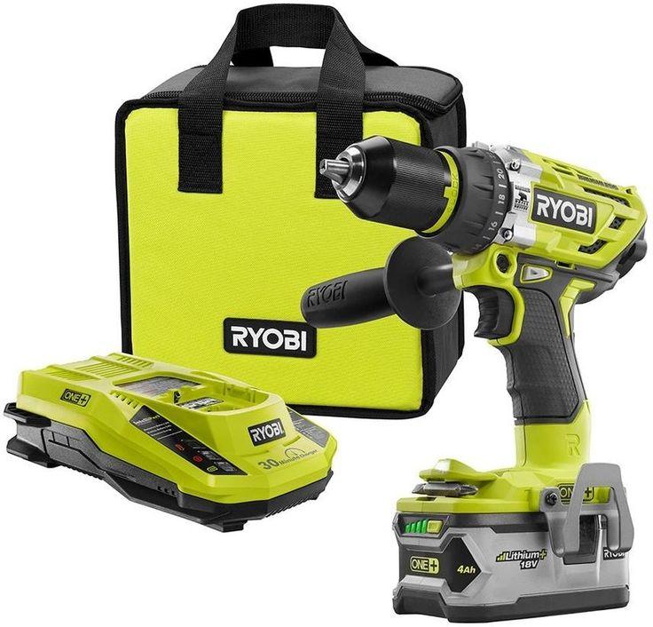 Ryobi 18-Volt ONE+ Lithium-Ion Cordless Brushless Hammer Drill Power Tool Kit #Ryobi