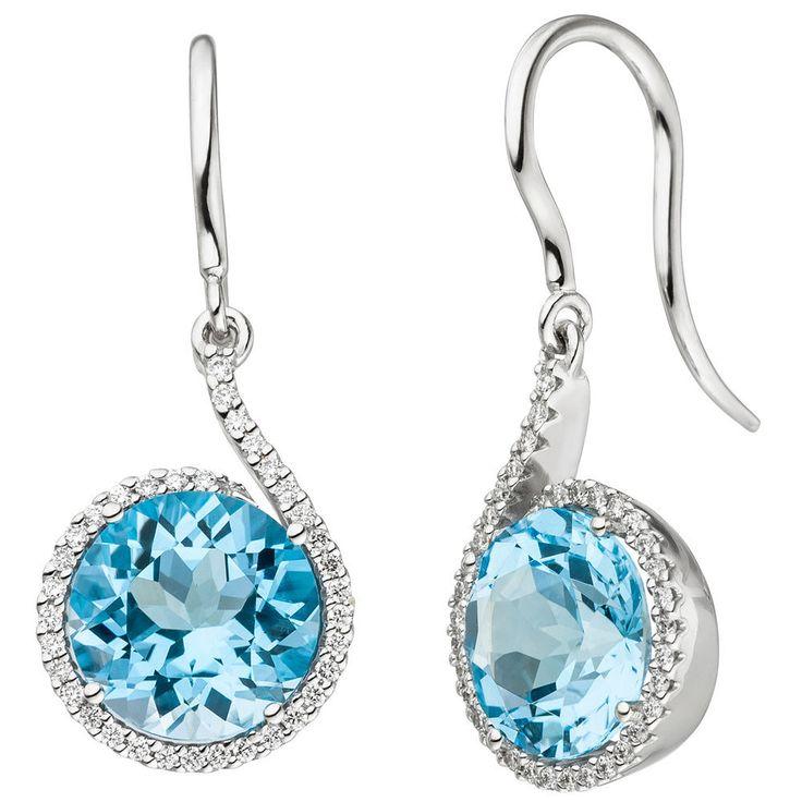 Diamanten Ohrhänger 585 echt Gold 14 Karat Weißgold Blautopase hellblau Ohrringe