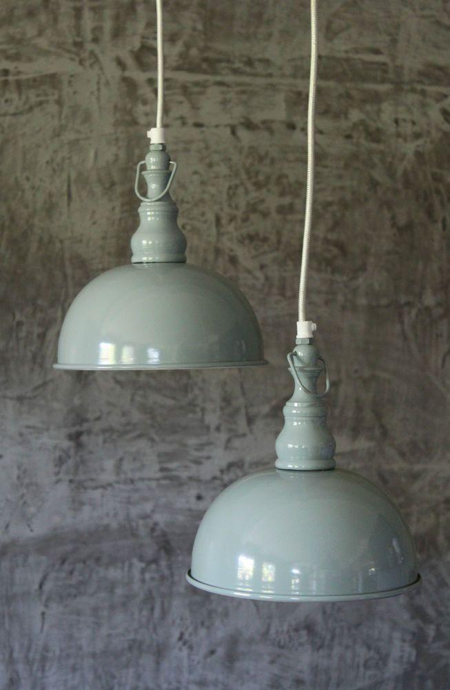 2er Set Hänge Lampen Vintage Loftlampe Fabrik Deckenlampe grün Hängelampe Shabby