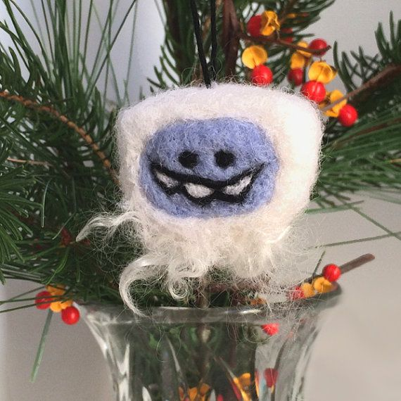 Mitten christmas ornament needle felted blue winter for Abominable snowman holiday decoration