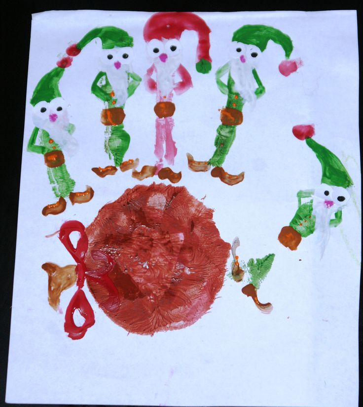 Bożonarodzeniowe Elfy - obrazki z odcisków dłoni