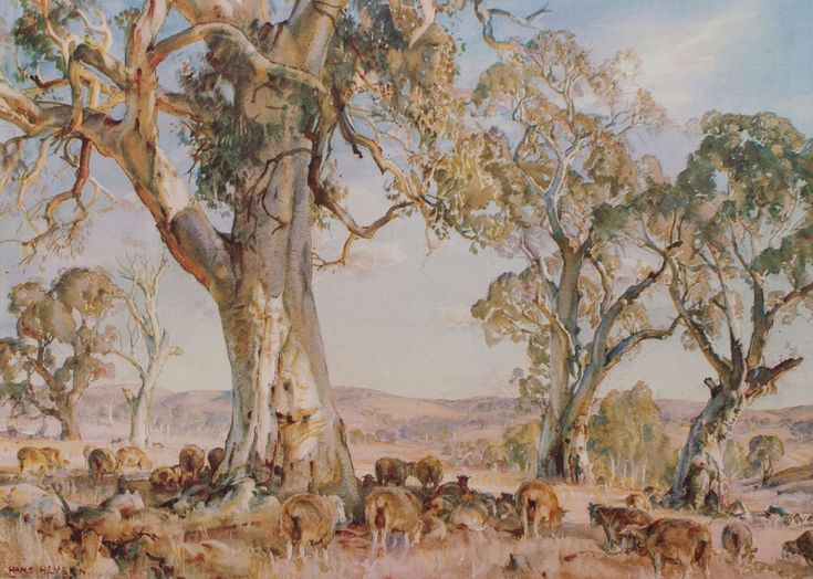 South Australian Pastoral: Hans Heysen. I have this print on my wall, it was my mother's favourite Heysen. http://www.hansheysen.com.au/shop.html