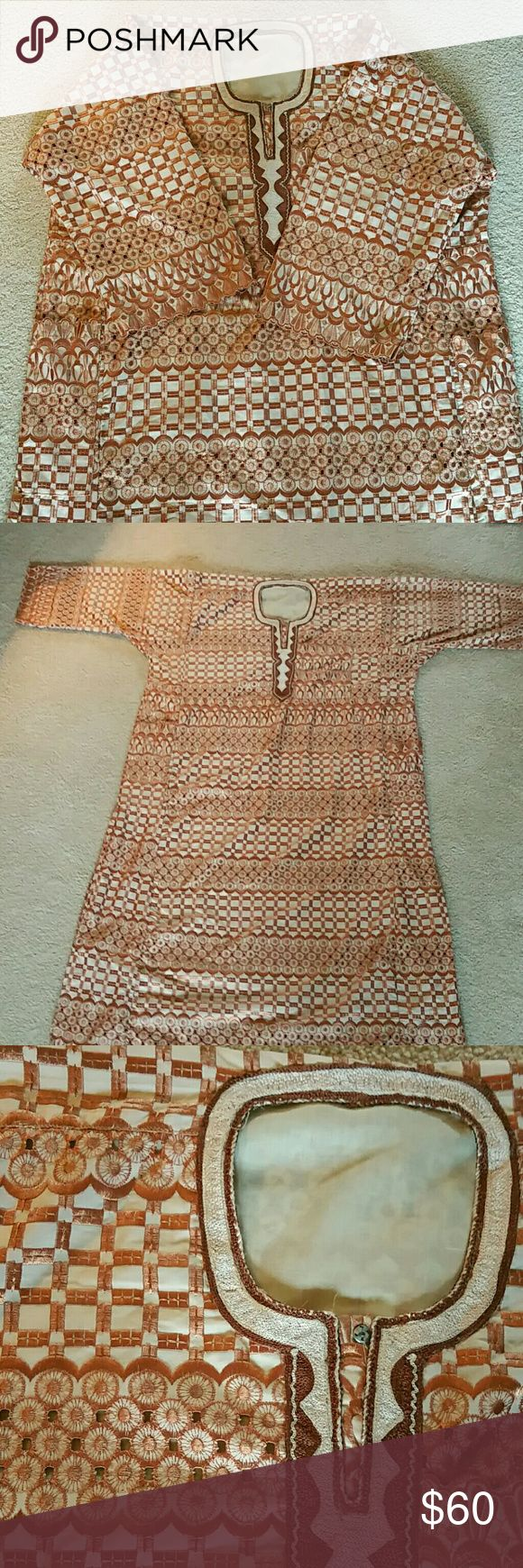 ANKARA African Men's Outfit Full length Shirt and pants set Gold Bronze Baroque thread. Purchased in Africa. NEW Other