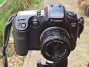 An EOS D30, fitted with a 50mm Pentacon f/1.8 lens from the late 70s.