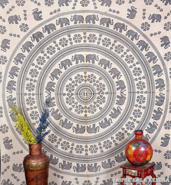 Indian Cotton Queen Size Elephant Jaipur Printed Wall Hanging Tapestry Bedspread    Dimension: This is a Queen Size Bed Cover(90 Inches*90