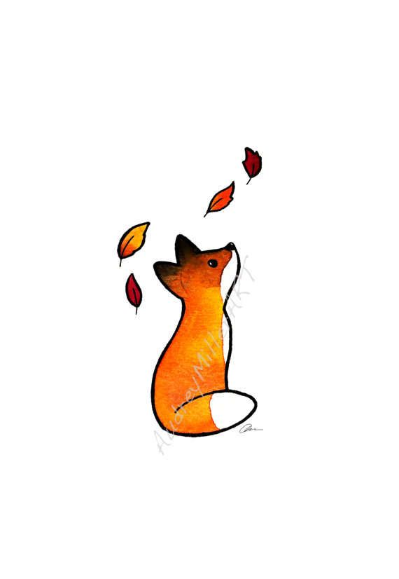 The Fox and The Leaves – 8×10 Art Print – fall autumn orange watercolor leaves