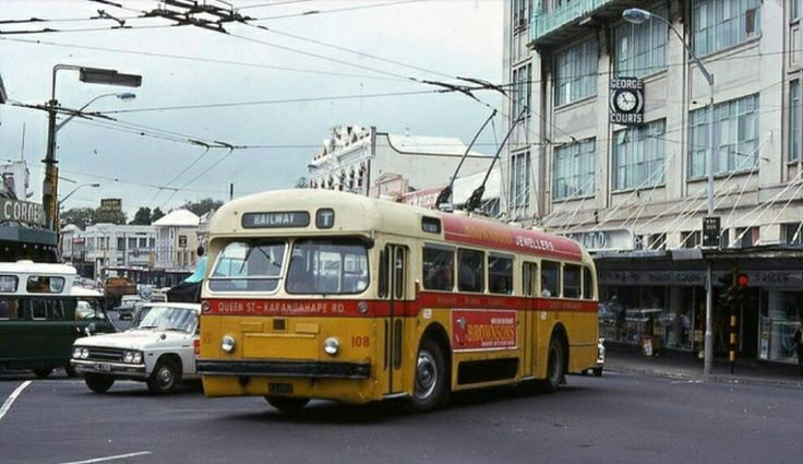 Auckland trolley bus vintage image new zealand
