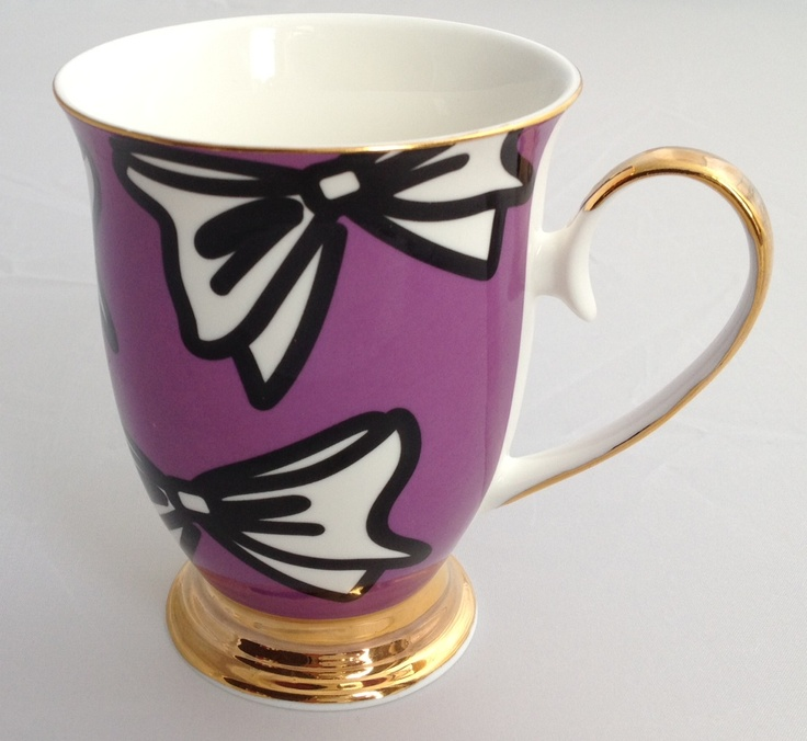 Fine porcelain mug with gold painted rim, handle & base. Perfect for creating a crazy collection tea set of all different designs! Buy online www.kiittadesigns.co.uk £10.00 prices include postage (including international postage). For wholesale contact Kristina at Kiitta Designs.