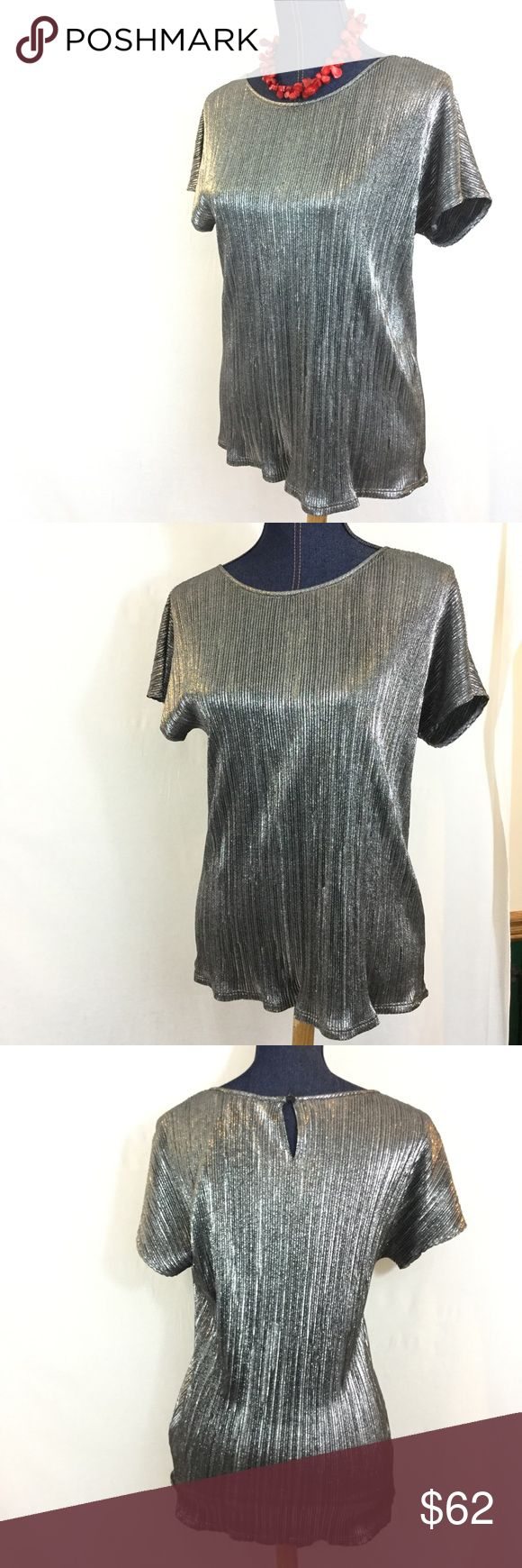 New NY COLLECTION Silver Medium Short Sleeve Top Gorgeous NY Collection from Macy's spring long-sleeved top.  Subtle vertical lines produces a slimming effect!  Measurements and fabric content in pics.  Washed but never worn. Love this top! NY Collection Tops Blouses