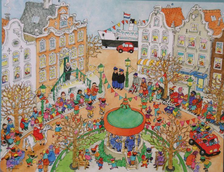 Praatplaat Bas - Intocht Sinterklaas (getekend door Dagmar Stam)