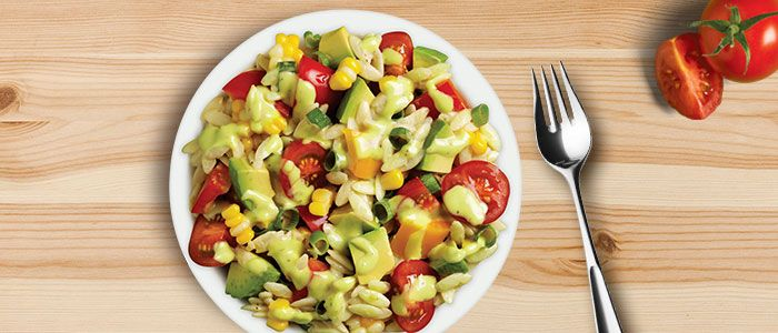 Here's our cooks tip: the key to making this colourful and pretty salad is to ensure all the ingredients are around the same size. Then simply mix through Eta Avocado & Garlic Dressing for a ta...