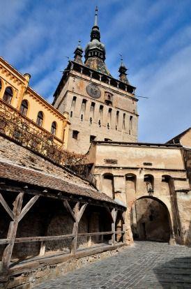 Sighisoara, Clock Tower, a Saxon landmark of Transylvania in Romania.