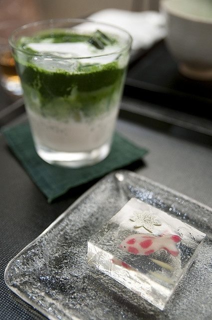 Japanese Confectionary with iced  Matcha Green Tea Latte