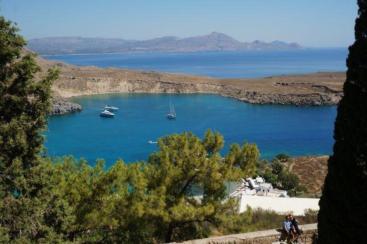 #Acropolis of #Lindos bay view #Mediterranean #Sea #Rhodes #Island #Greece