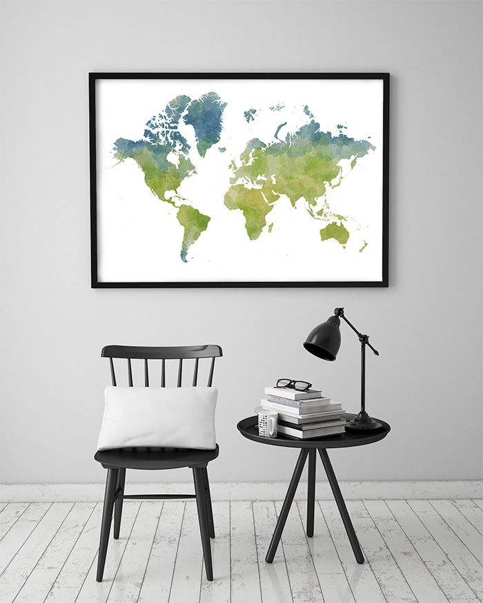 Poster Världskarta Vattenfärg
