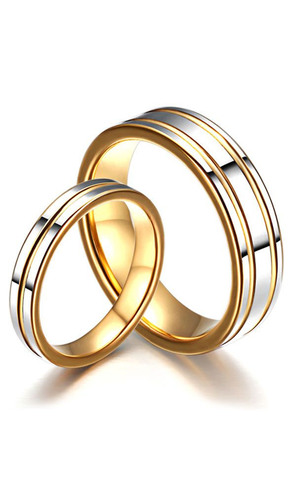 Two-Tone Matching Tungsten Wedding Bands Set for Women and Men, Gold Tungsten Carbide Wedding Rings with Grooves @ iDream-Jewelry.Com