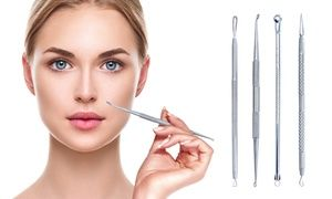 Four extractor tools help remove blemishes, pimples, and blackheads from the face without creating painful pressure and irritation