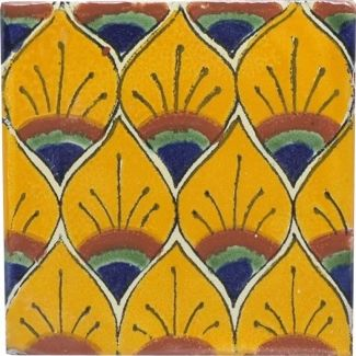"Mexican tile in a ""feathers"" pattern"