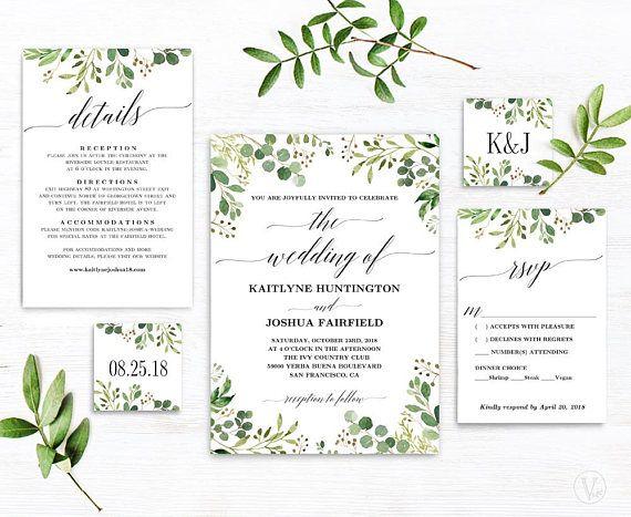 Rustic Greenery Wedding Invitation Printable Greenery Etsy Greenery Wedding Invitations Wedding Invitations Rustic Wedding Invitations