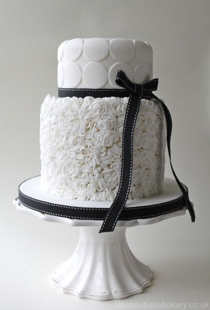 Monochrome ruffled wedding cake - white sugar ruffles, black grosgrain ribbon |