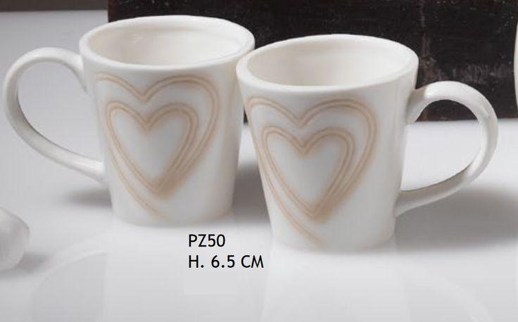4 PZ Coppia tazzine caffe porcellana con cuore BOMBONIERA MATRIMONIO Multicolore