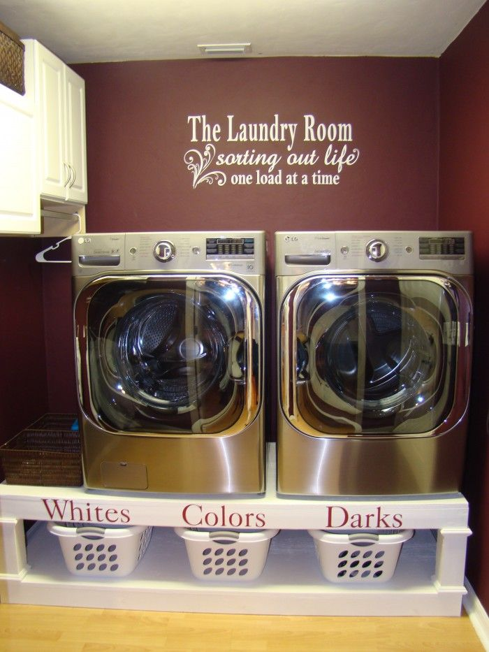 Custom Washer & Dryer Pedestal in Laundry Room.    http://www.designs-by-jewel.com/my-moms-new-laundry-room/