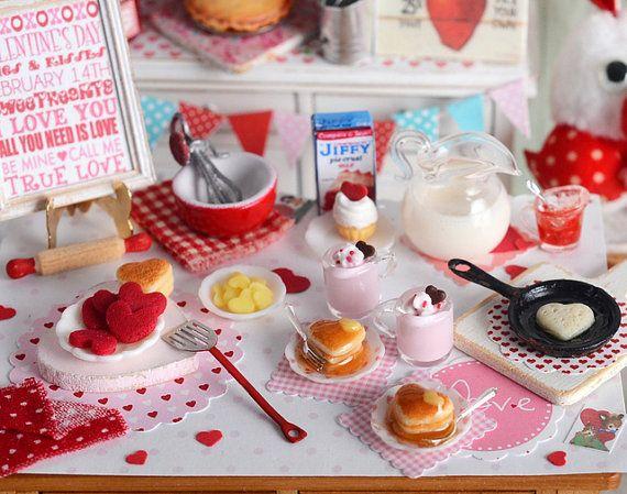 Desayuno+de+panqueques+miniatura+San+Valentín+por+CuteinMiniature