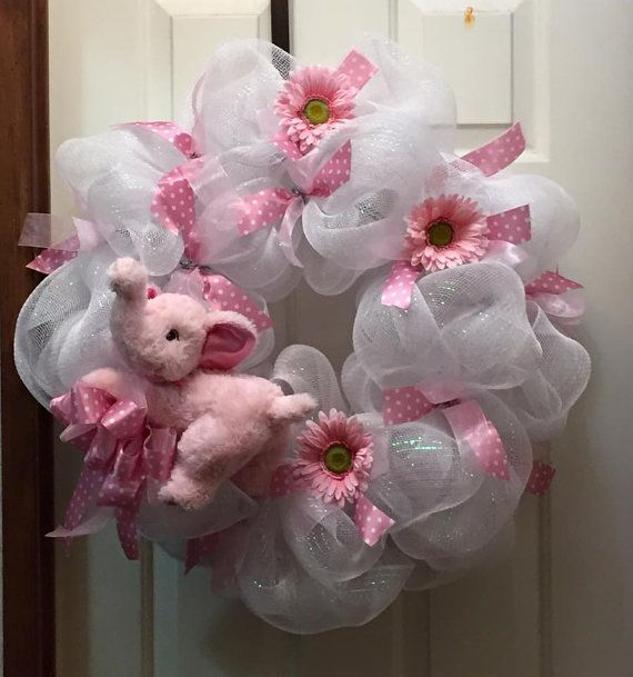 Baby Girl Wreath Shower Gift Wreath Front Door by TayloredWreaths