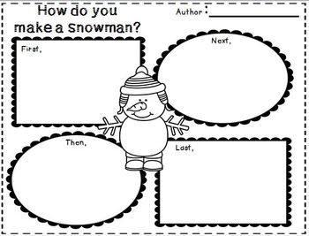 snowmen at work writing activity for second