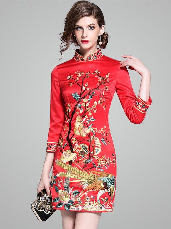 7821de64b1 Red Embroidered Phoenix Qipao   Cheongsam Party Dress