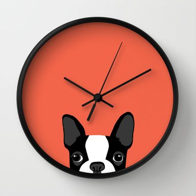 Boston Terrier Wall Clock by Anne Was Here - $30.00
