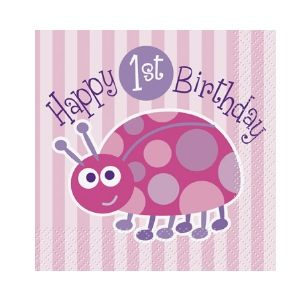 First Birthday Ladybug Beverage Napkins