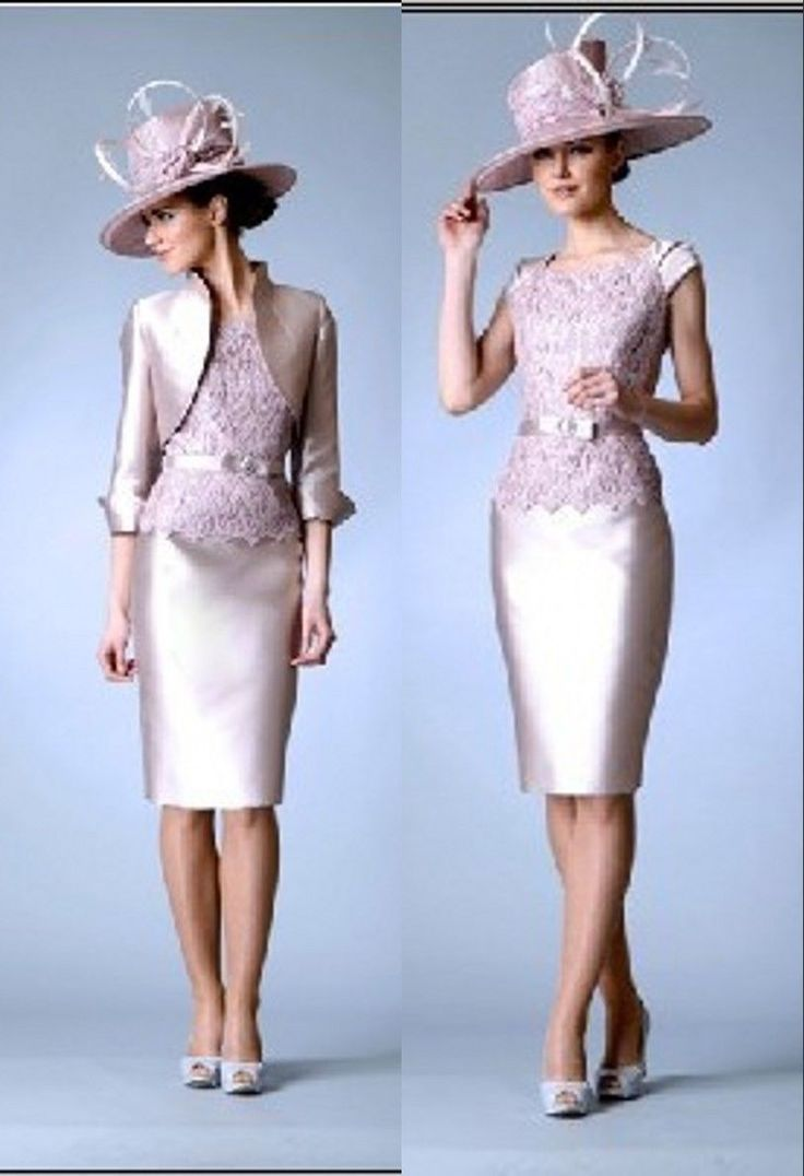 067f9437f97 Knee-Length Lace+Satin Mother Of The Bride Outfits Wedding Party Formal  Dresses