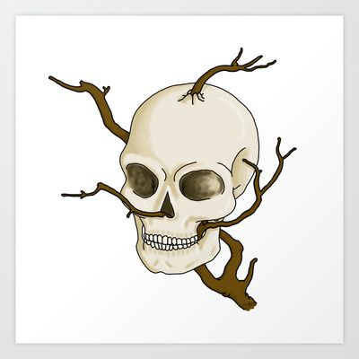 Skull and tree Art Print by Constance Macé - $14.48