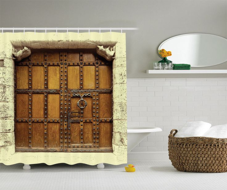 Rustic Medieval Decor Old Wooden Door  Europe Architecture Sepia Shower Curtain #Ambesonne